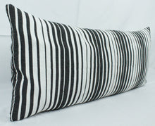 Load image into Gallery viewer, Large Lumbar Pillow- Black, White, Grey Stripes