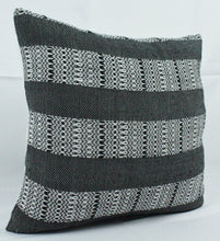 Load image into Gallery viewer, Small Square Throw Pillow- Black and White Striped Design