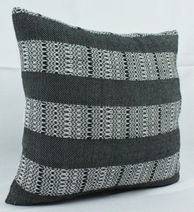 Small Square Throw Pillow- Black and White Striped Design