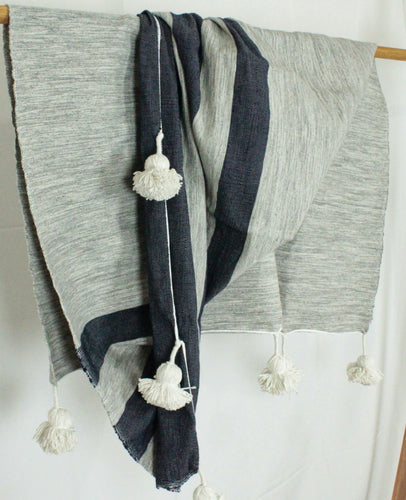 Wool Striped Pom Pom Blanket- Grey with Navy Stripes