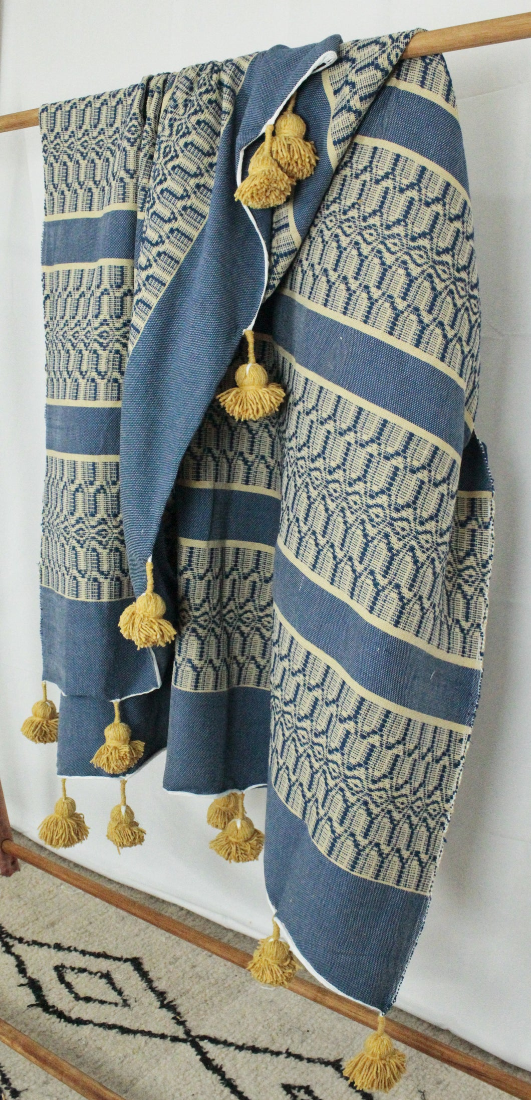 Wool Design Pom Pom Blanket- Blue and Tan with Mustard Pom Poms