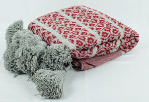 Wool Design Pom Pom Blanket- Grey and Red with Grey Pom Poms
