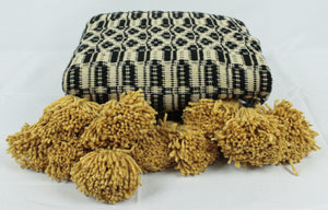 Wool Design Pom Pom Blanket- Black and Tan