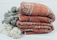 Load image into Gallery viewer, Wool Design Pom Pom Blanket- Grey and Orange