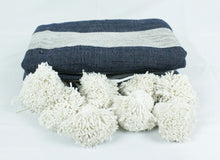 Load image into Gallery viewer, Wool Striped Pom Pom Blanket- Grey with Navy Stripes
