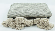 Load image into Gallery viewer, Wool Pom Pom Blanket- Beige and White