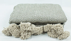 Wool Pom Pom Blanket- Beige and White