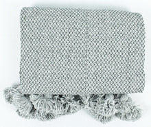 Load image into Gallery viewer, Wool Pom Pom Blanket- Grey and White