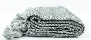 Wool Pom Pom Blanket- Grey and White