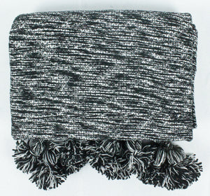 Wool Pom Pom Blanket- Black and White