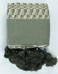Wool Design Pom Pom Blanket- Green and Beige with Green Pom Poms