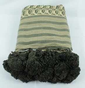 Wool Design Pom Pom Blanket- Green and Tan with Green Pom Poms