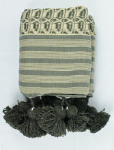 Load image into Gallery viewer, Wool Design Pom Pom Blanket- Green and Tan with Green Pom Poms