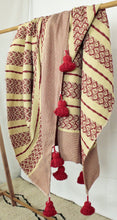 Load image into Gallery viewer, Wool Design Pom Pom Blanket- Red and Tan with Red Pom Poms