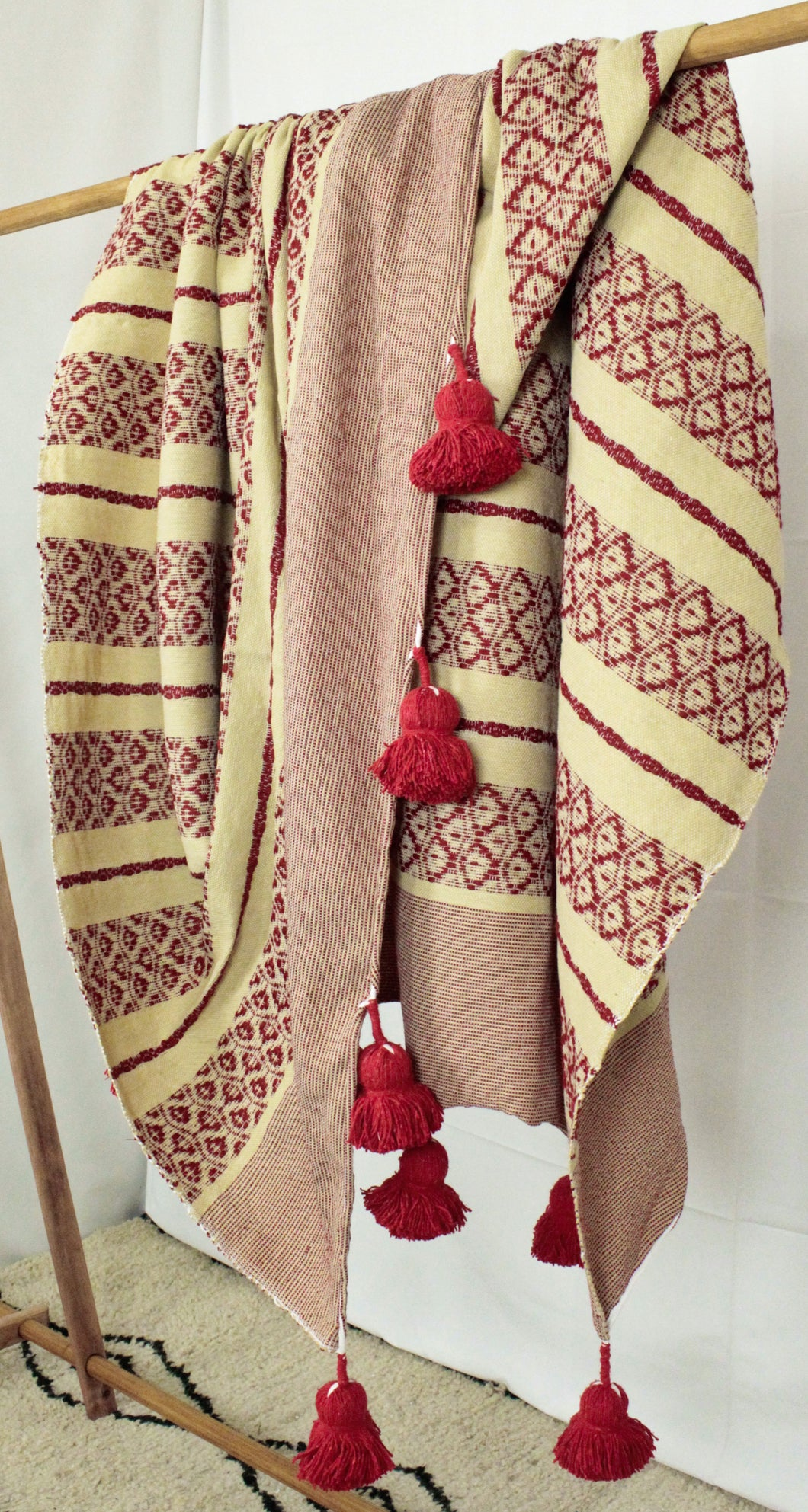 Wool Design Pom Pom Blanket- Red and Tan with Red Pom Poms