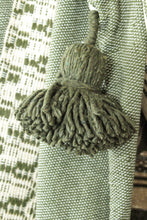 Load image into Gallery viewer, Wool Design Pom Pom Blanket- Green and Beige with Green Pom Poms