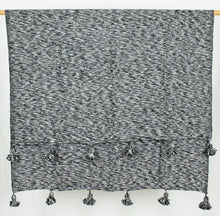 Load image into Gallery viewer, Wool Pom Pom Blanket- Black and White