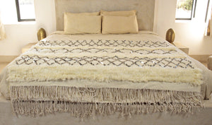Moroccan Wedding Blanket- White with Sequins