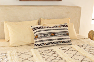 Kilim Lumbar Pillow, Black and Yellow Design 1