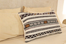 Load image into Gallery viewer, Kilim Lumbar Pillow, Black and Yellow Design 1
