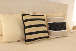 Small Square Throw Pillow- Tan and Beige with Black Center