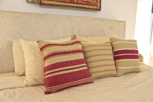 Small Square Throw Pillow- Tan with Red Center