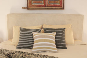 Small Square Throw Pillow- White, Tan and Beige Stripes