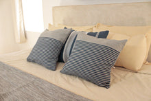 Load image into Gallery viewer, Small Square Throw Pillow- Grey with Blue Stripes