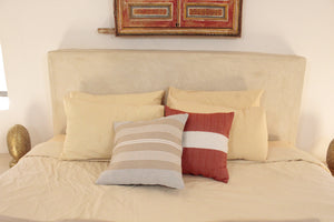 Small Square Throw Pillow- Orange with White Center Stripe