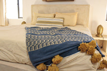 Load image into Gallery viewer, Wool Design Pom Pom Blanket- Blue and Tan with Mustard Pom Poms