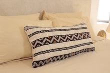 Load image into Gallery viewer, Kilim Lumbar Pillow, Black and Yellow Design 3