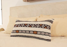 Load image into Gallery viewer, Kilim Lumbar Pillow, Black and Yellow Design 4