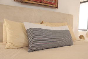 Large Lumbar Pillow- White with small Black stripes