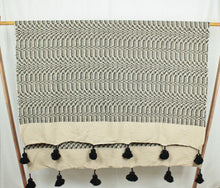 Load image into Gallery viewer, Wool Design Pom Pom Blanket- Beige and Black