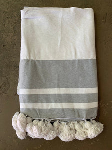 Moroccan Striped Pom Pom Blanket: Various Colors