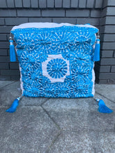 Load image into Gallery viewer, Moroccan Fabric Embroidered Pouf with Tassels