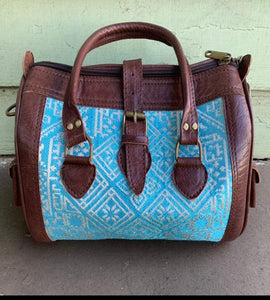 Moroccan Leather Bag: Blue
