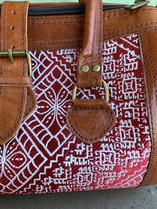 Moroccan Leather Bag: Embroidered Red