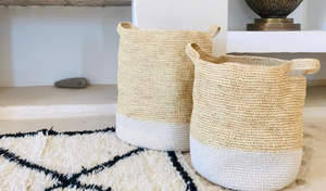Rustic Raffia & Cotton Storage Baskets with White Bands