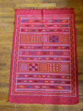 "Load image into Gallery viewer, Red Amazigh Kilim Flatweave - Sabra ""Cactus Silk"""