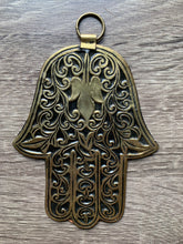 Load image into Gallery viewer, Brass Hand of Fatima | Khamsa | Protection from the Evil Eye: L