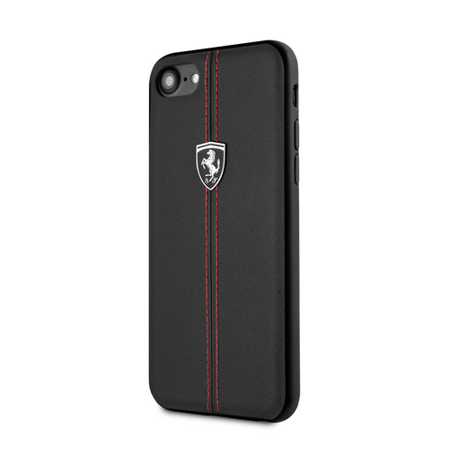 Funda Case Piel Negra Ferrari Logo Plata iPhone 6, 7, 8 y SE - ForwardContigo