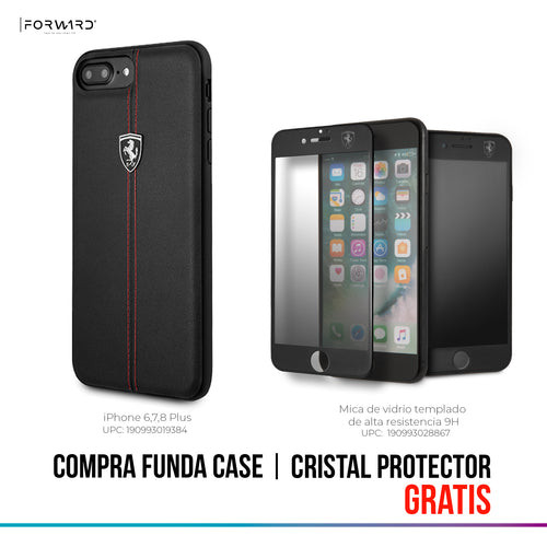 Funda Case Cuero Ferrari Rojas/negro iPhone 6,7,8 Plus