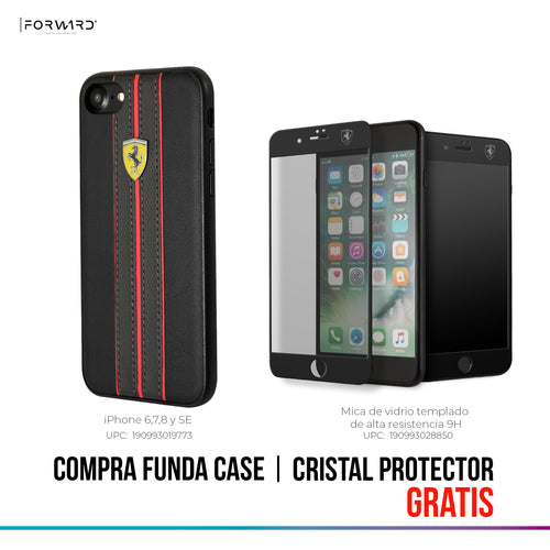 Funda Case En Piel Negra Ferrari iPhone 6, 7, 8 y SE