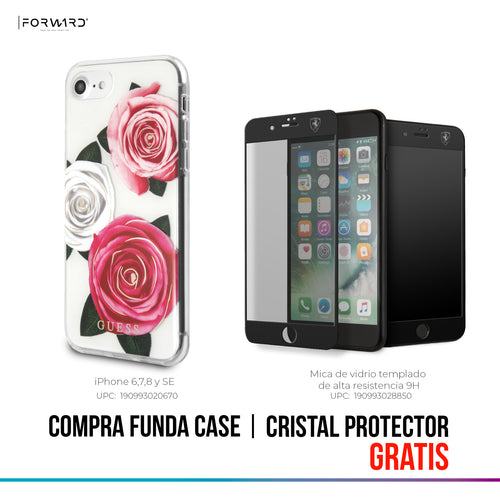 Funda Case Guess Cristal Y Rosas iPhone 6, 7, 8 y SE