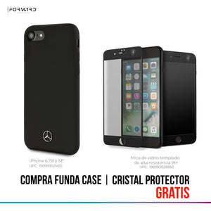 Case Funda Mercedes Benz silicon negra iPhone 6, 7, 8 y SE