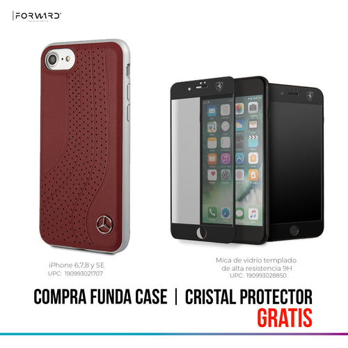 Funda Case Mercedes Benz Arcos Piel Roja Ip 6,7,8 y SE