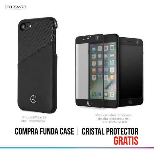Funda Case Mercedes Benz Piel/carbono Negra iPhone 6, 7, 8 y SE