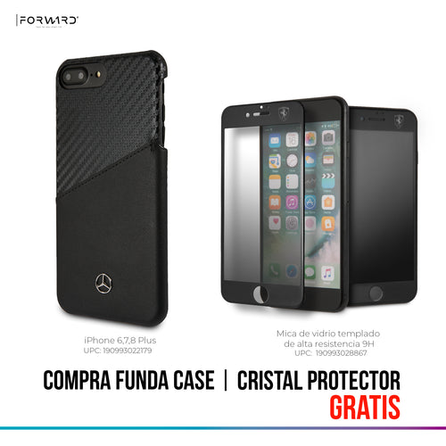 Case Funda Mercedes Benz piel y carbono iPhone 6, 7 y 8 Plus
