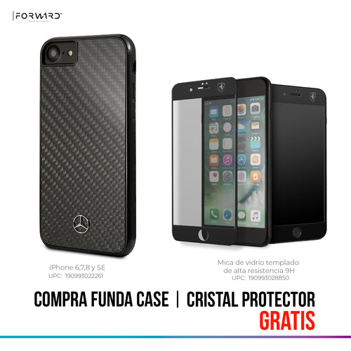 Case Funda Mercedes Benz Fibra de carbono negra iPhone 6, 7, 8 y SE